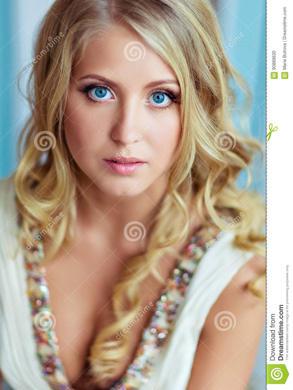 Very Beautiful Blond Woman With Long Curly Hair And Blue Eyes Stock Photo Image Of Blond Eyes 90889630