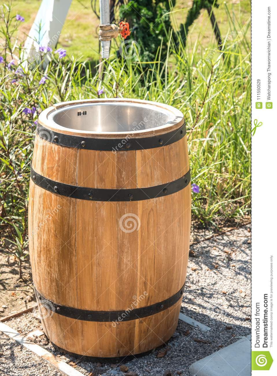 Wash Tub Made Of Wooden Barrel Stock Image Image Of Faucet Rinse