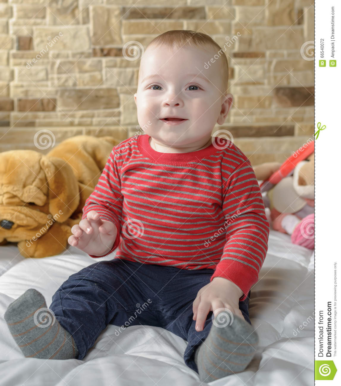 very beautiful cute baby boy home in bedroom stock photo - image of