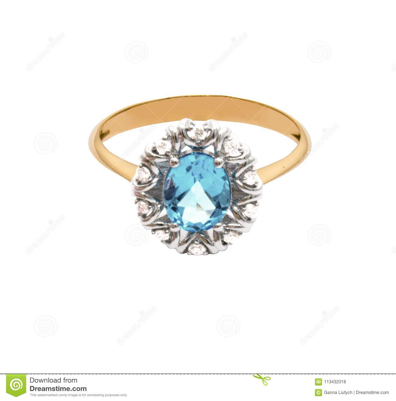 Very beautiful golden ring with topaz and few diamonds