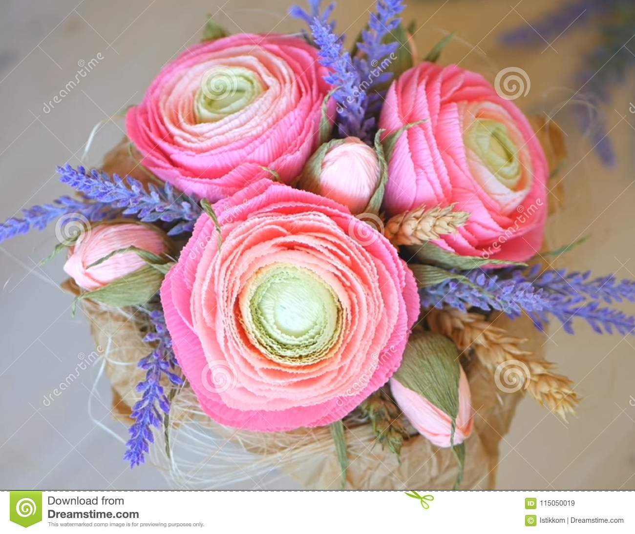 Very Beautiful Ranunculus And Lavender Stock Image Image Of