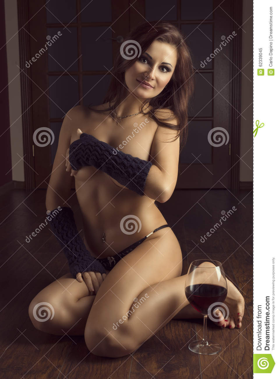 Very Beautiful Sexy Nude Girl With Glass Of Red Wine Stock ...