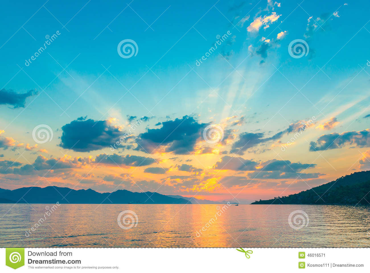 Very beautiful sky in the rays of the rising sun