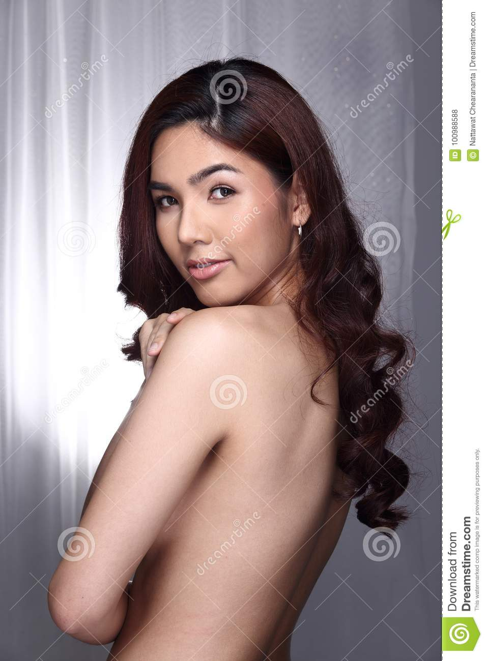 Transgender Model Woman Topless To Present Skin And Curl ...