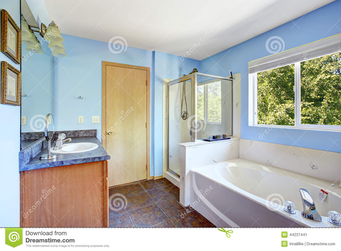 Very bright bathroom in light blue color Stock Image. Bright Bathroom Interior In Light Blue Color Stock Photo   Image