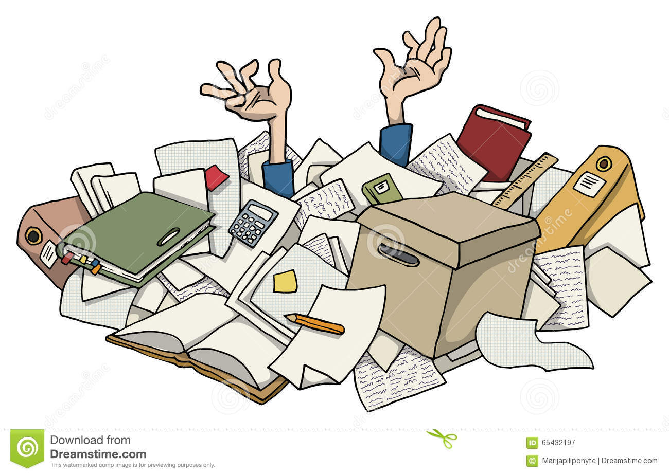 Very busy with pile of paper works