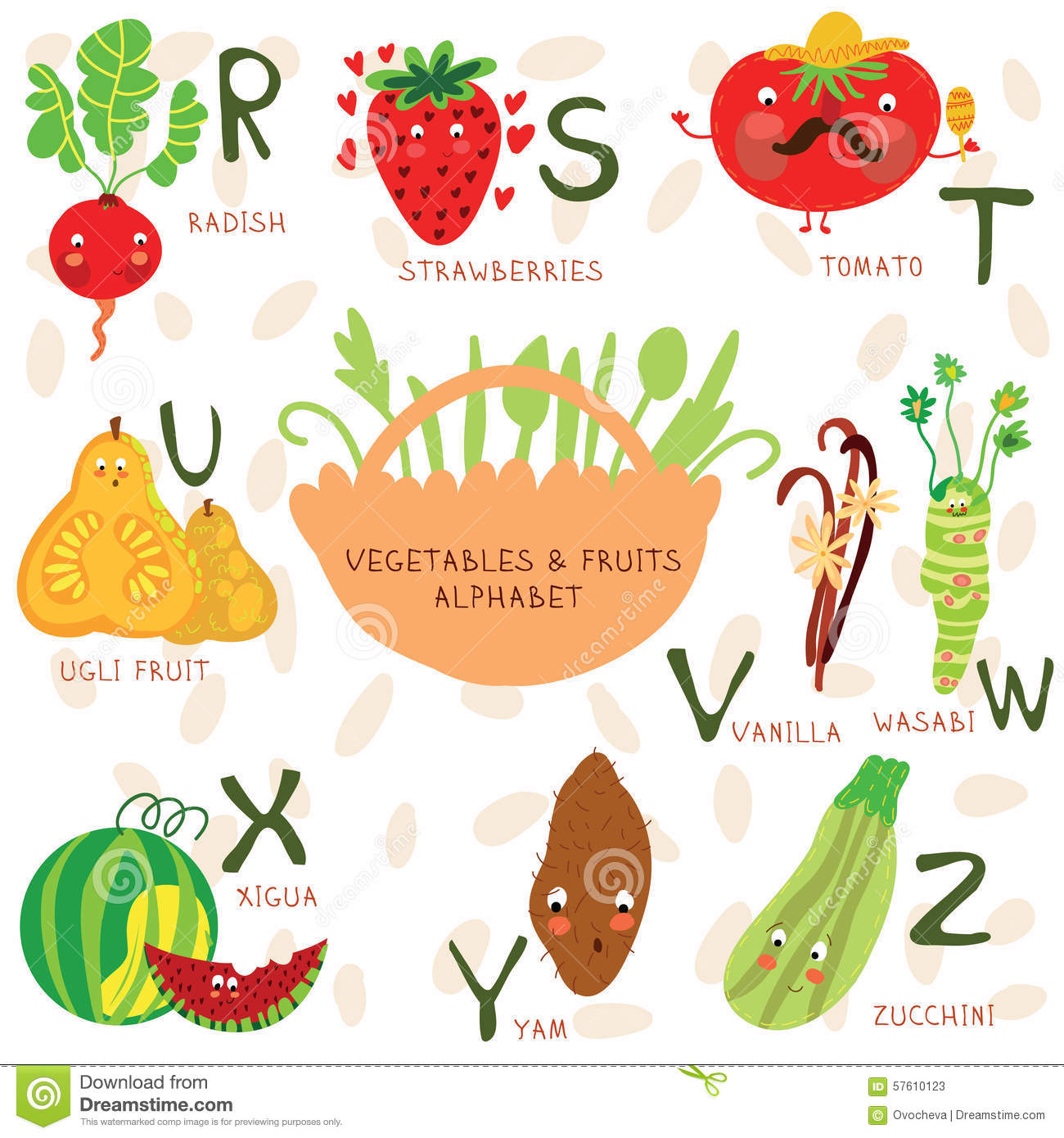 Very Cute Alphabet Of Fruit And Vegetables. R, S, T, U, V ...