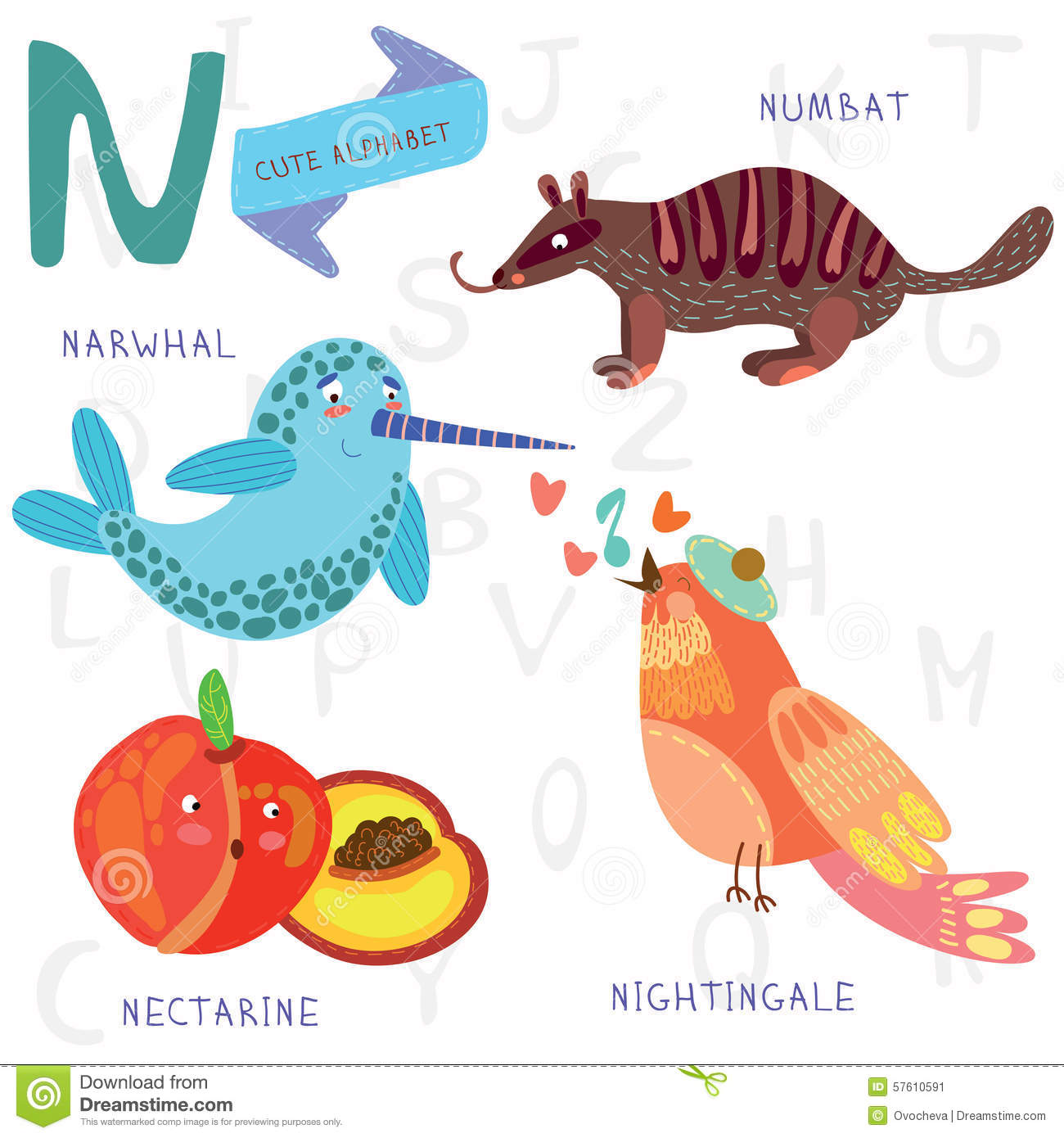 animals that start with the letter n alphabet n letter narwhal numb at nightingale 20459 | very cute alphabet n letter narwhal numb nightingale nectari design colorful style 57610591