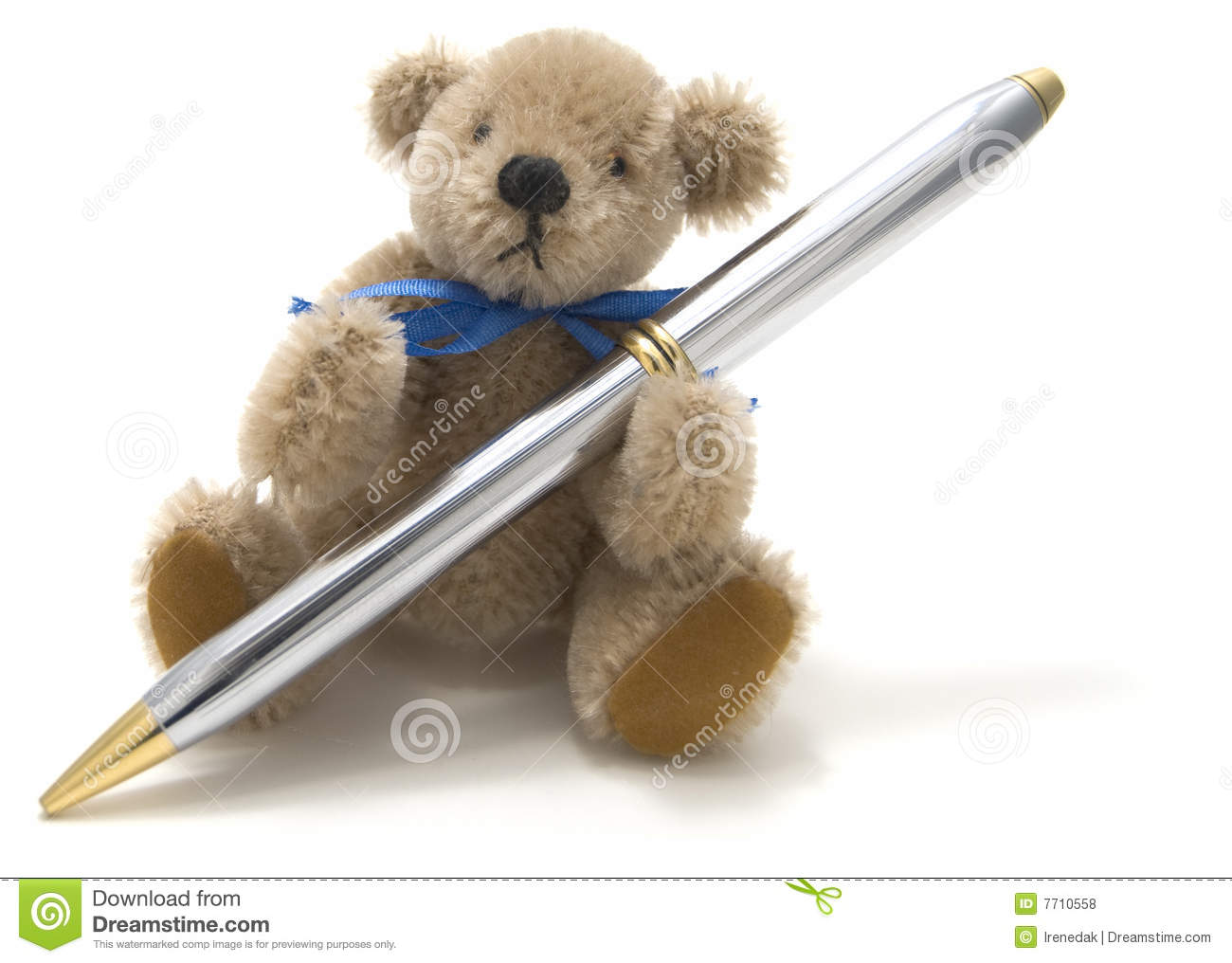 Very Cute Teddy Bear Holding A Pen Stock Photo - Image of ...