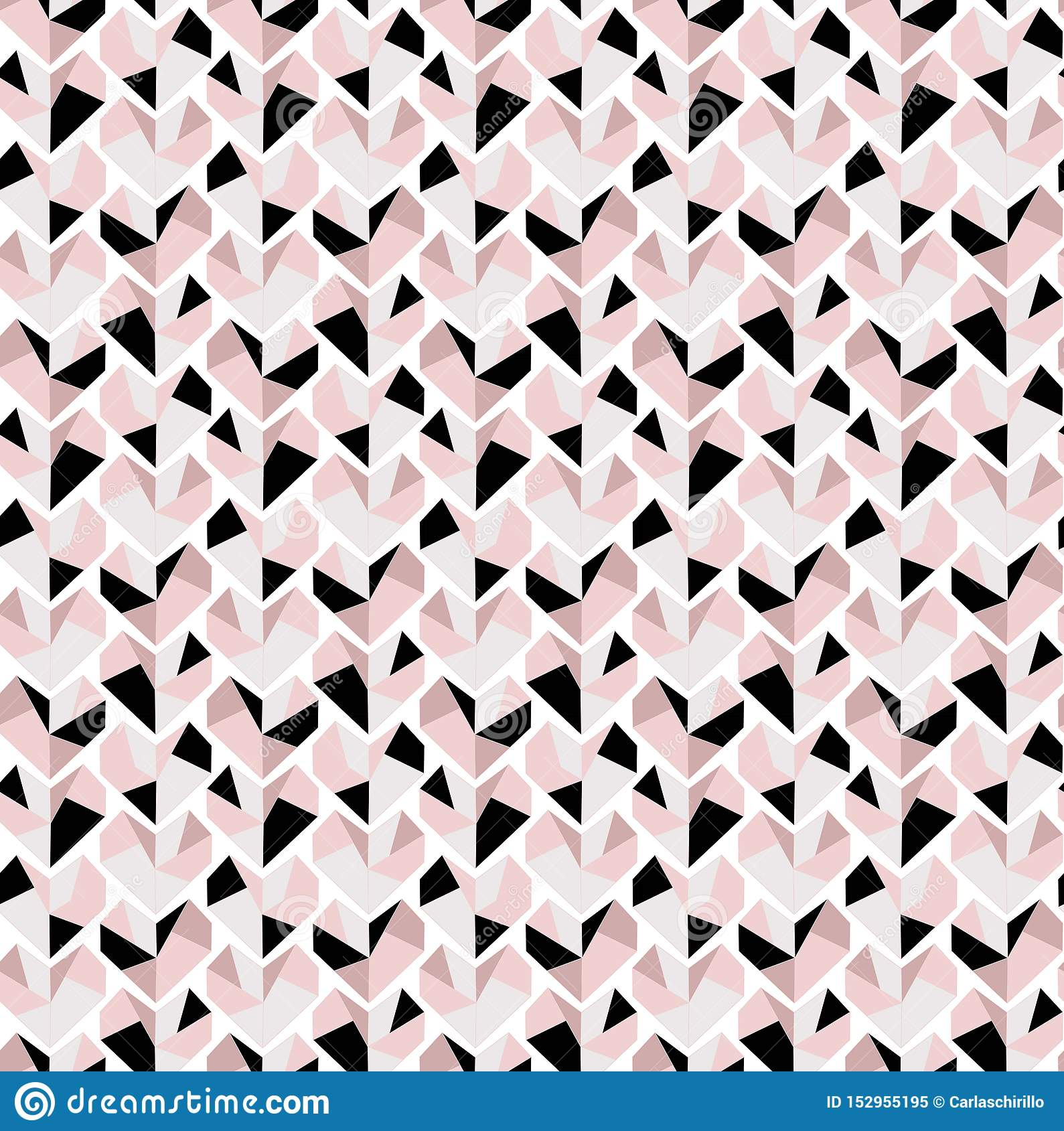 Very delicate Diamond heart seamless pattern in grey black and pink tones