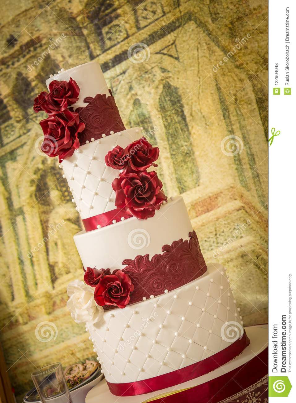 Beautiful Red And White Wedding Cake Stock Photo Image Of Marriage