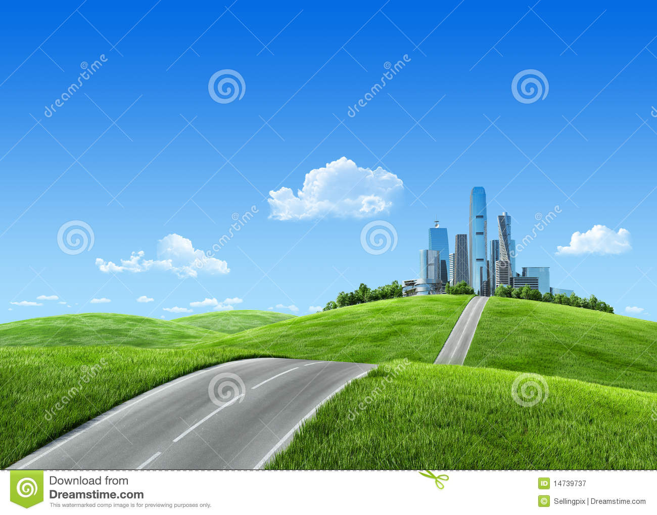 Very Detailed 7000px City On Horizon Royalty Free Stock ...
