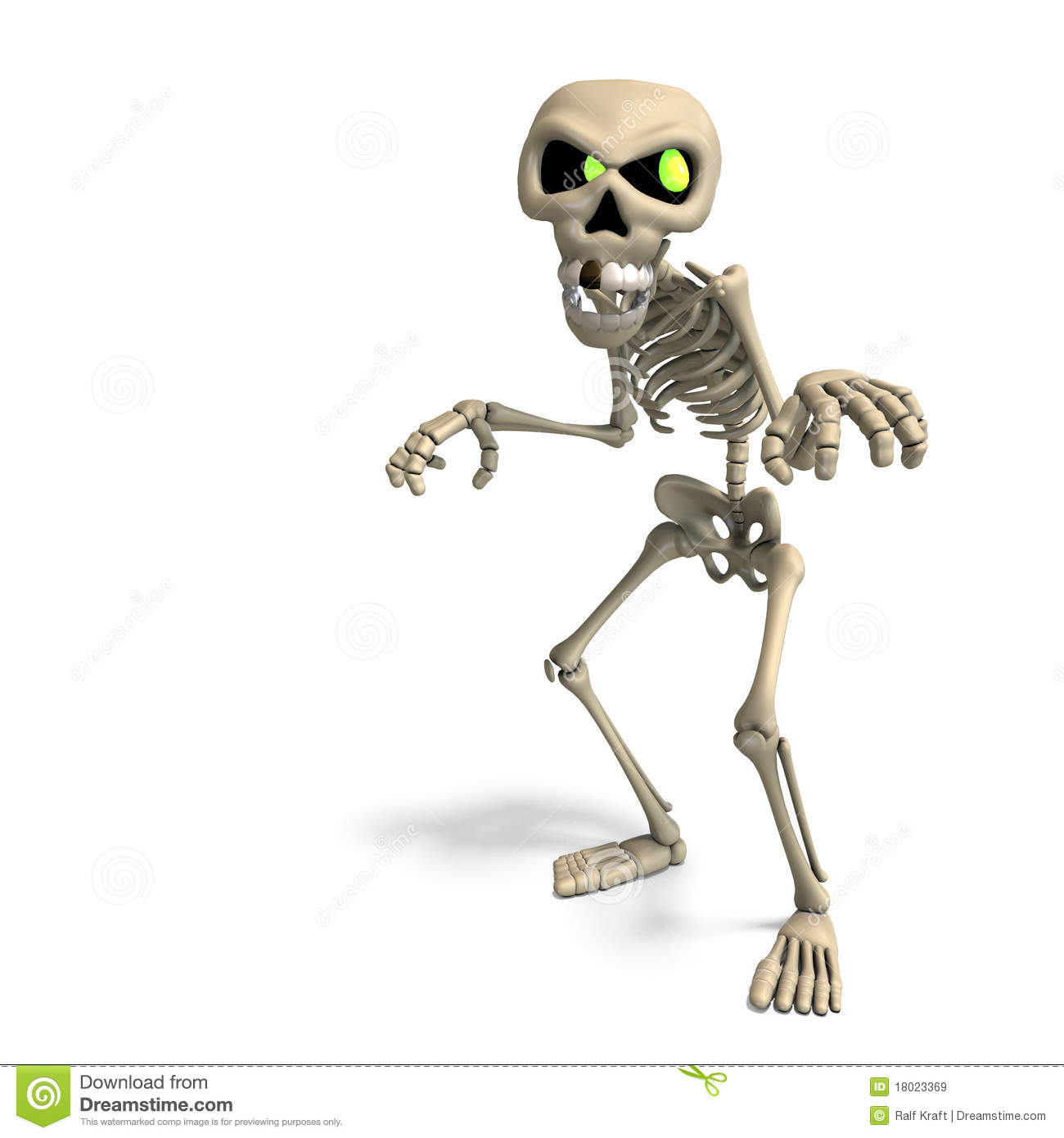 Very Funny Cartoon Skeleton Rendering With Clipping Path And