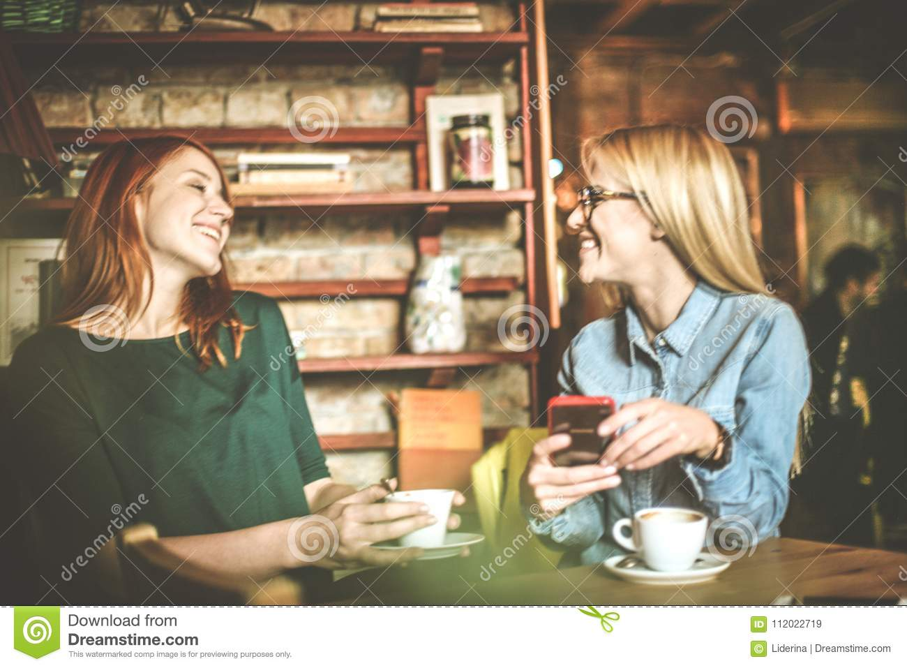 Very funny  Women at cafe  stock image  Image of best