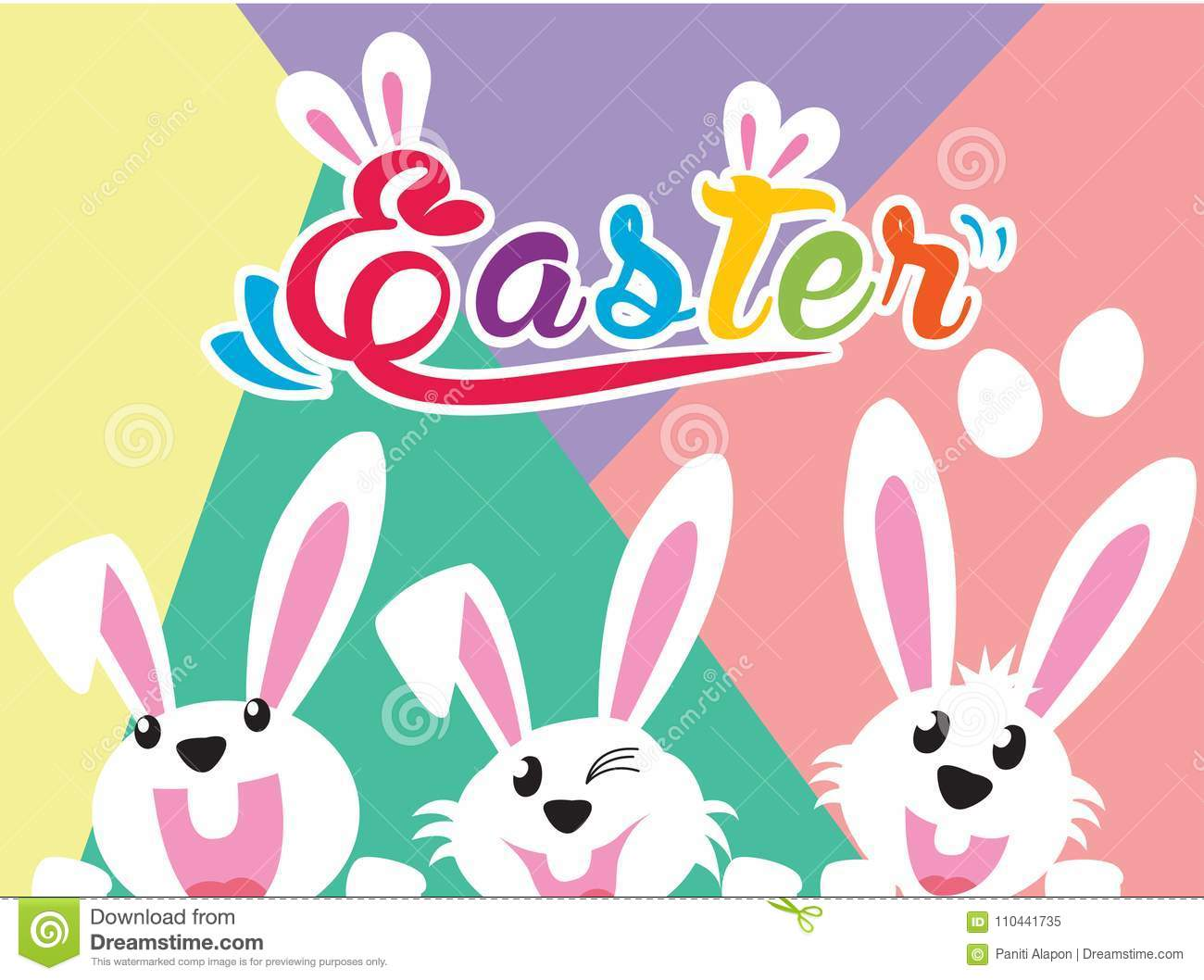 Very Happy Easter,bunny And Egg With Color Background