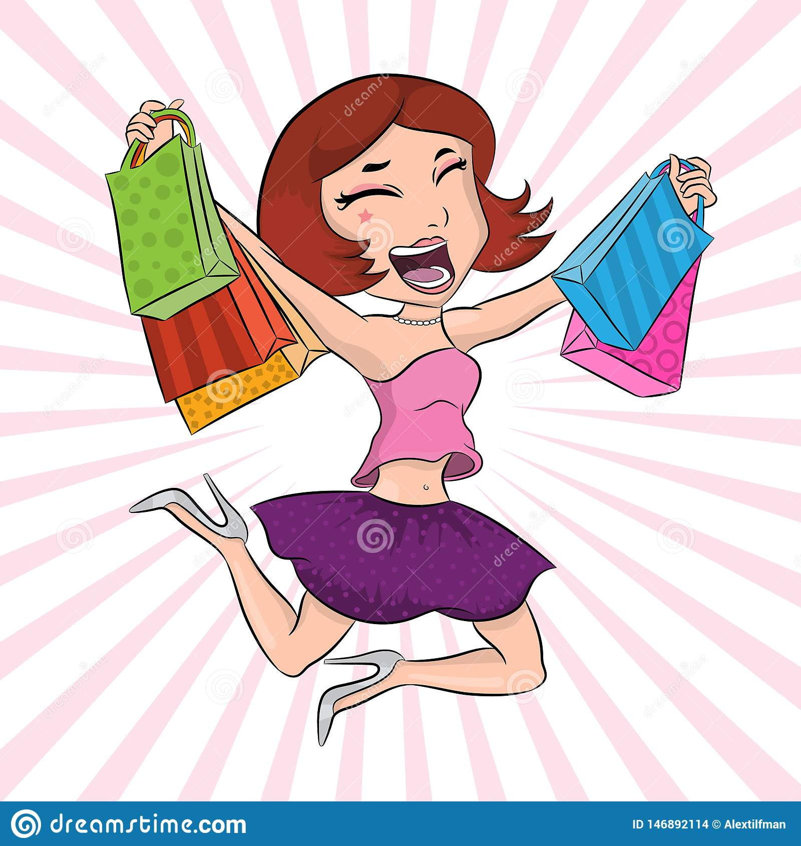 Very happy girl with paper bags after shopping jumping and having fun, beautiful girl poster, fashion and style banner, pretty wom