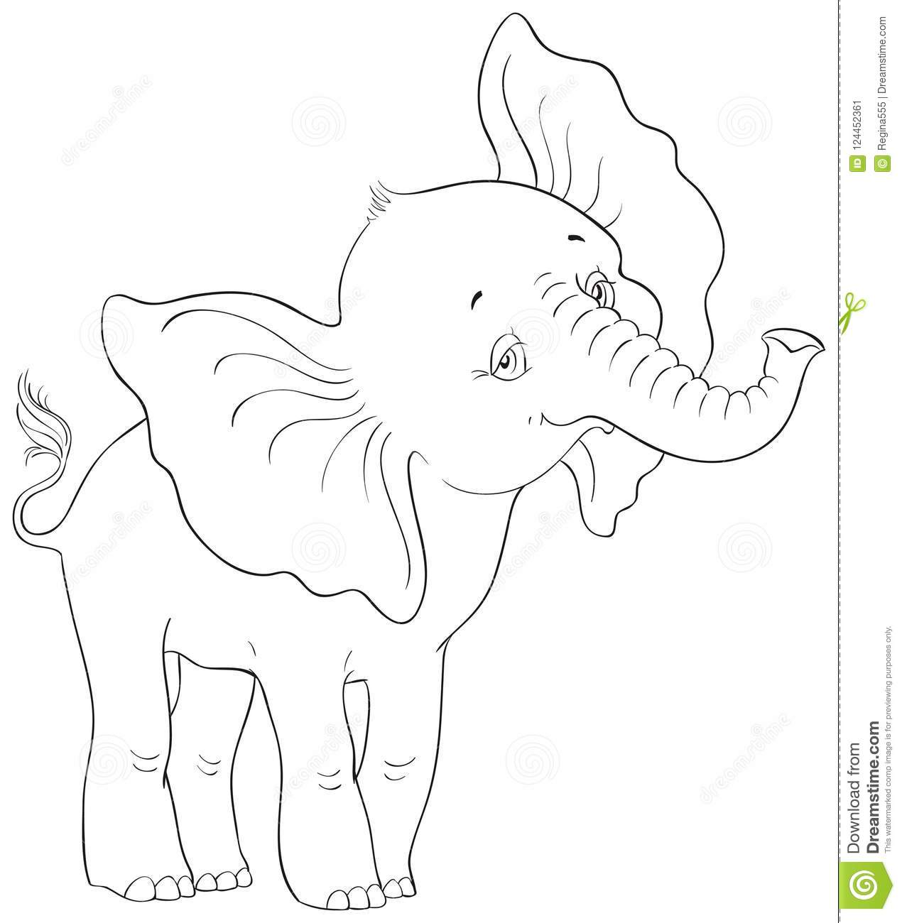 Cute Cartoon Baby Elephant Standing Coloring Page Stock Vector ...