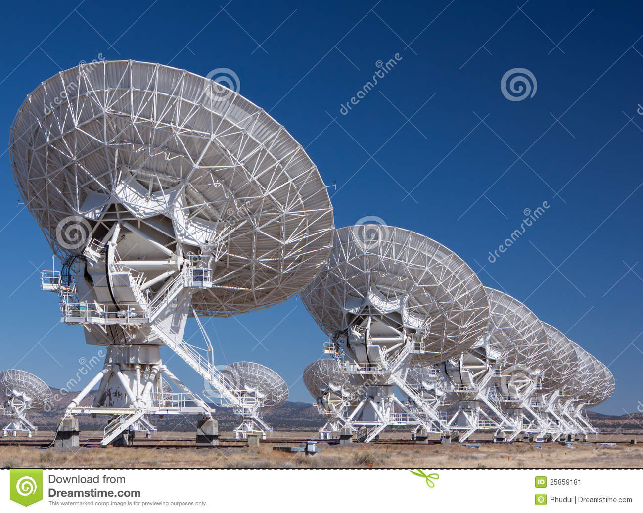 Very Large Radio Satellite Dishes Stock Image Image Of