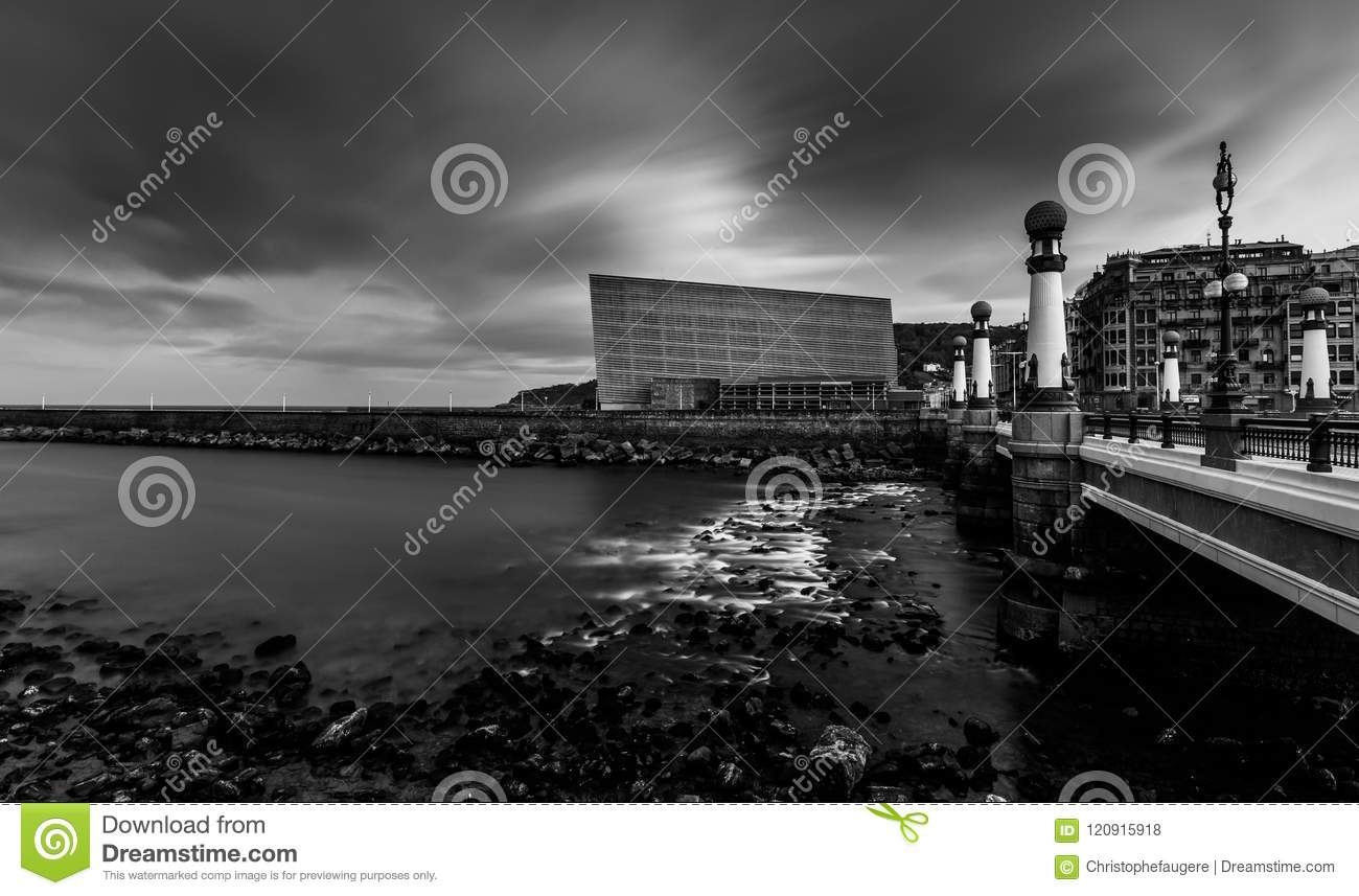 Very long exposure of the kursaal congress center and auditorium in bw photo