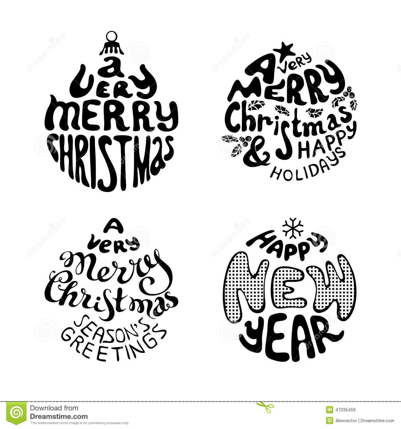 set of four christmas hand written typography black and white illustration - Merry Christmas Black And White