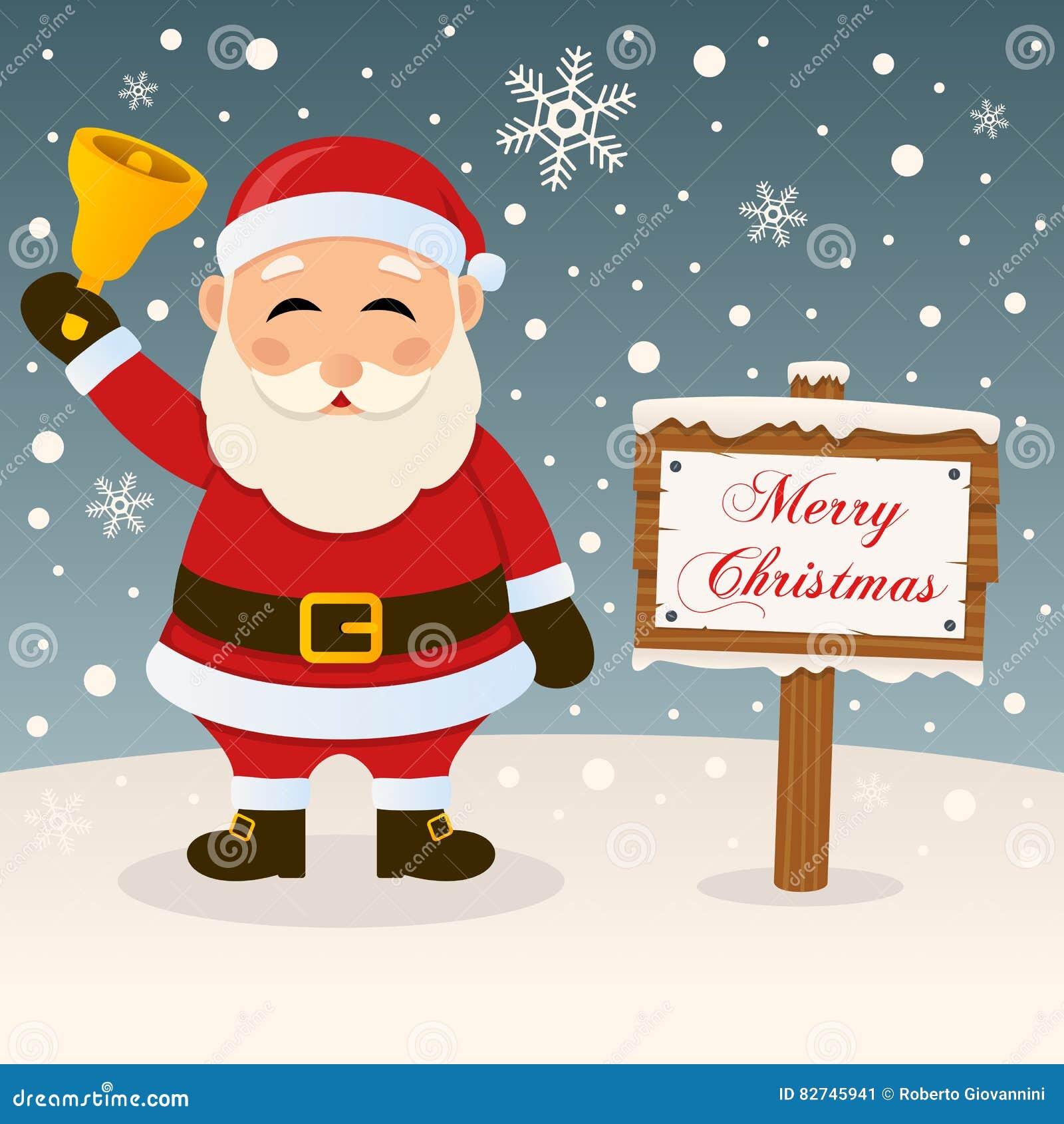 A Very Merry Christmas Sign Santa Claus Stock Vector