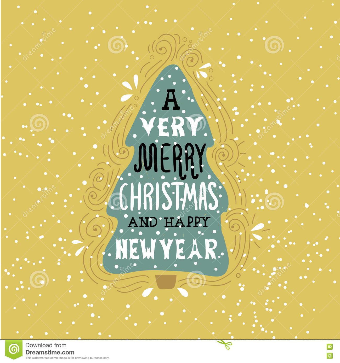a very merry christmas winter holiday saying hand drawn greeting card with handwritten lettering