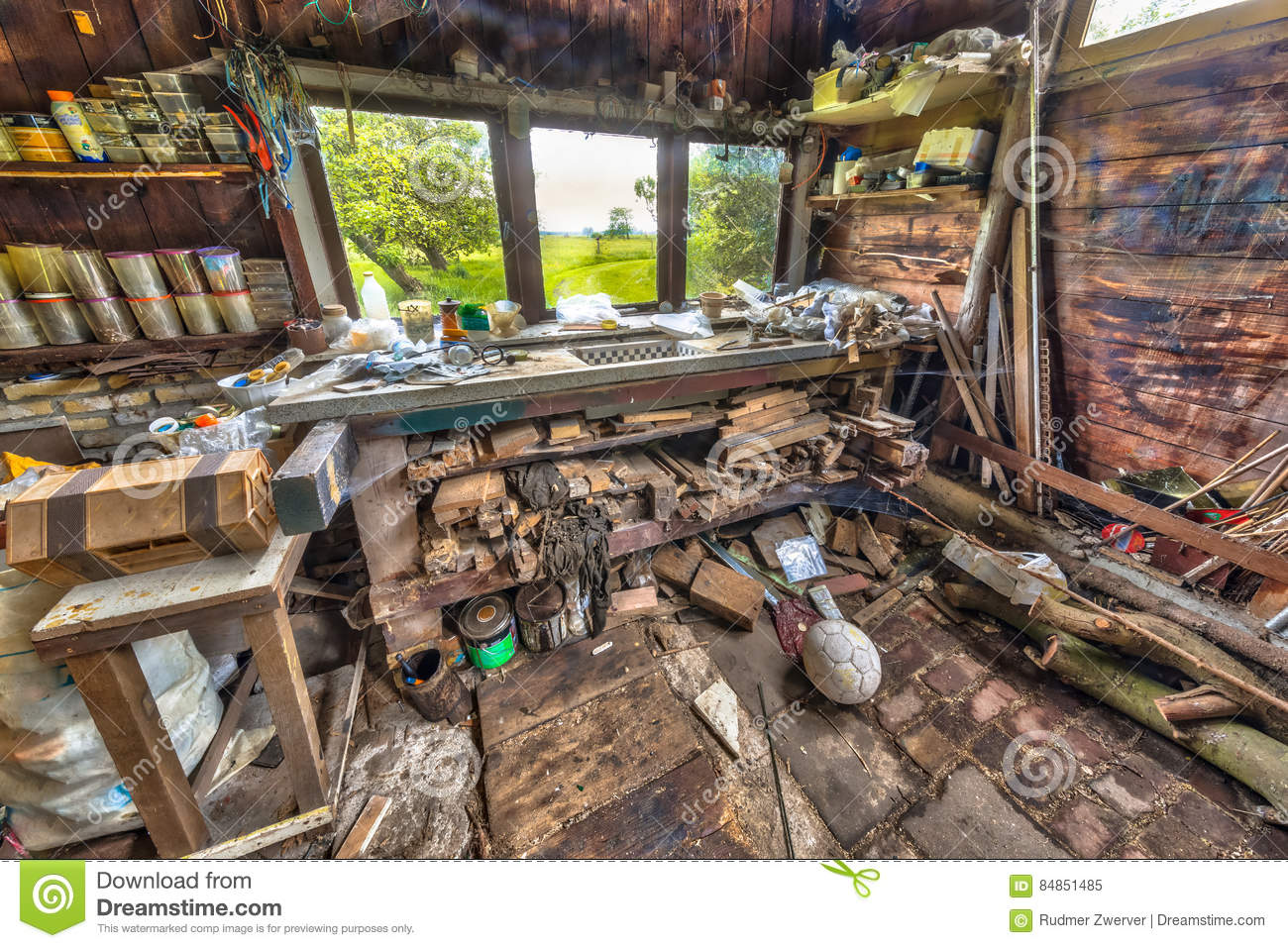 Very Messy Workbench Of Compulsive Hoarder Stock Image