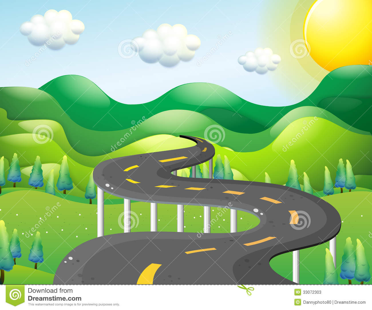 A Very Narrow Road Stock Vector Image Of Green Path