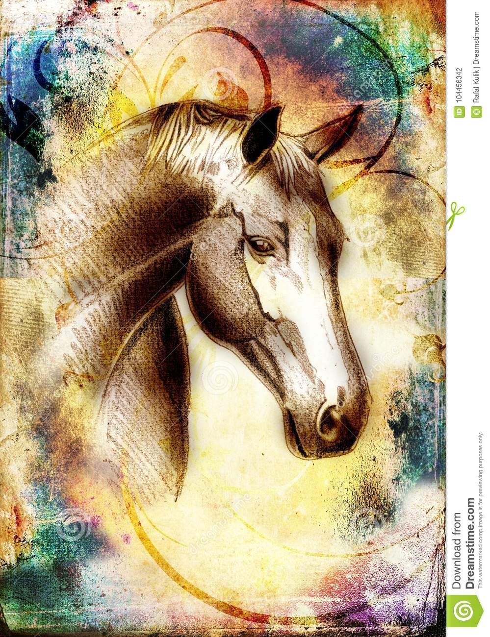Freehand Horse Head Pencil Drawing Stock Illustration Illustration Of Nature Animal 104456342