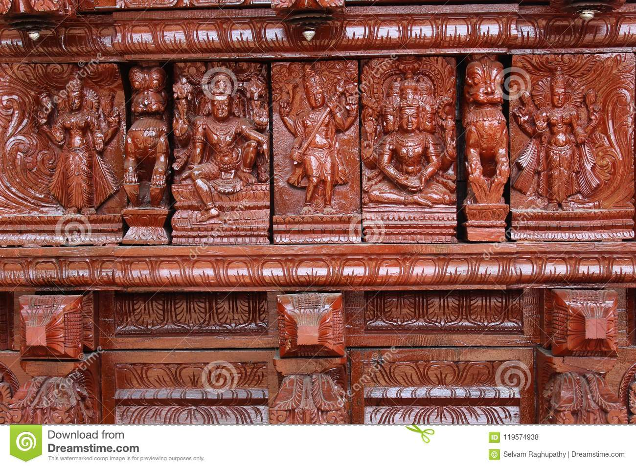 Very nice wood carving ornamental statues on the indian temple car