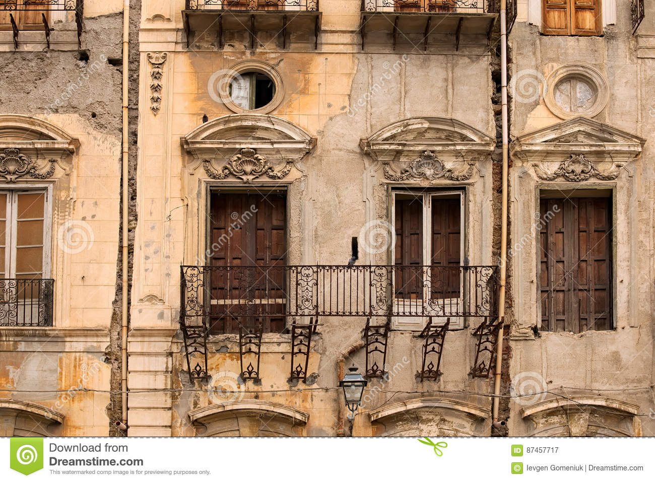 Very Old House In Disrepair. No Floor On The Balcony. Palermo ...