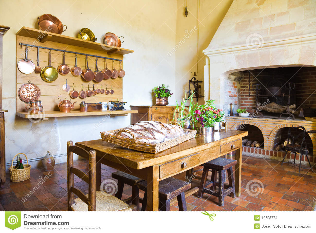 Royalty Free Stock Photo. Download Very Old Kitchen With Fireplace ...