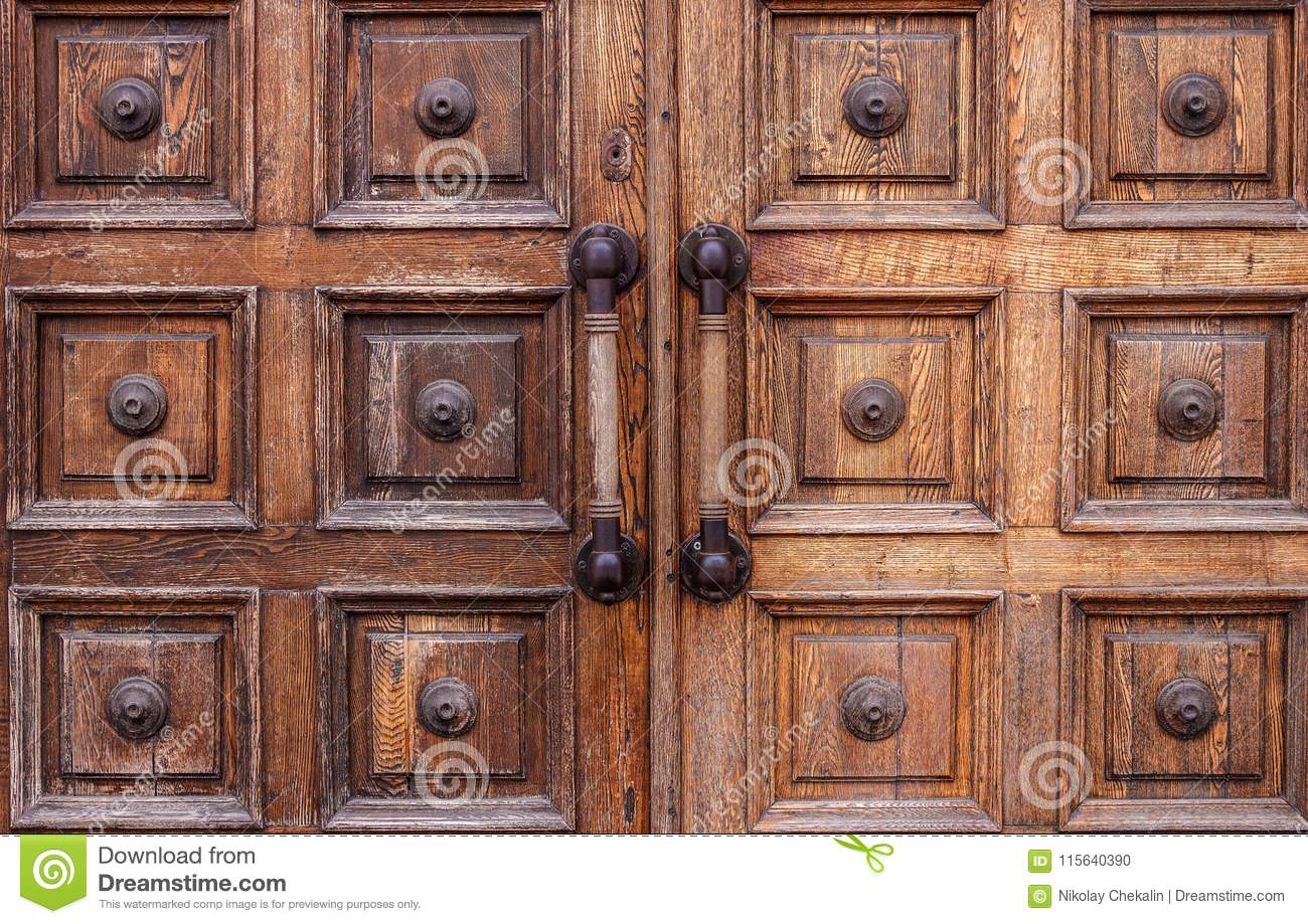 Royalty-Free Stock Photo & Very Old Shabby Wooden Doors With Large Handles In The Museum Stock ...