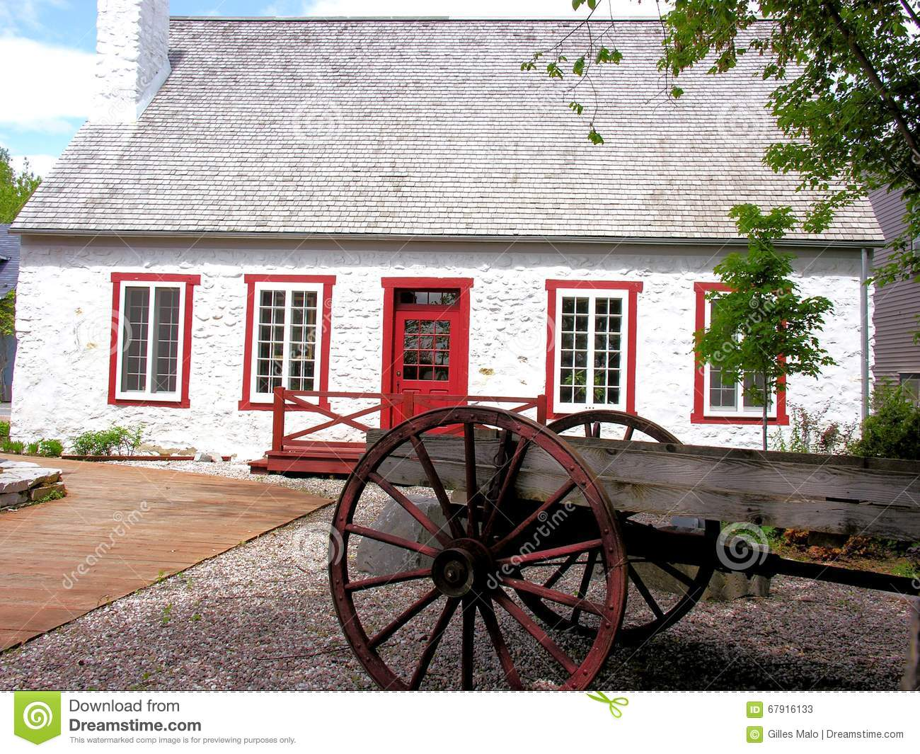 Very old white house in small town canada