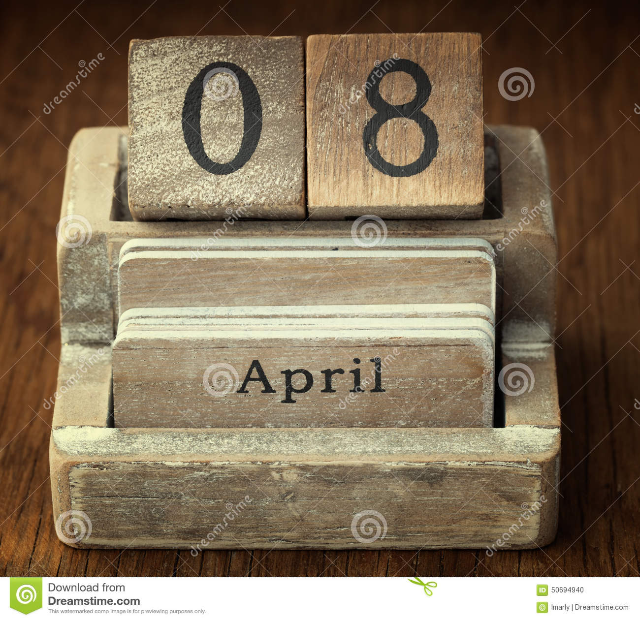Lucifer Season 4 April 8th: Very Old Wooden Vintage Calendar Showing The Date 8th