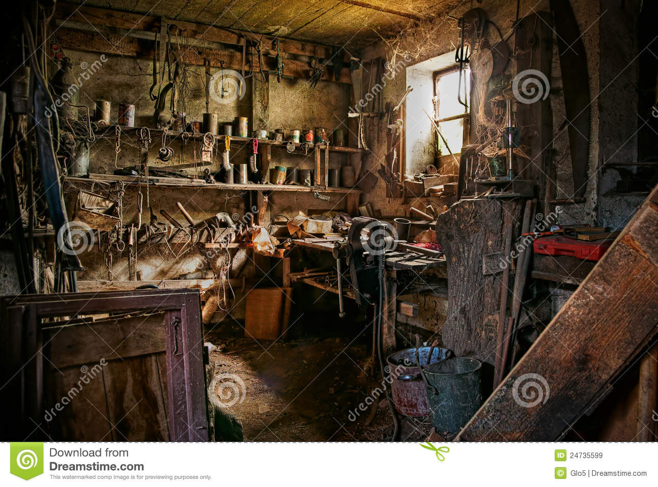 Very old workshop stock image. Image of work, objects ...