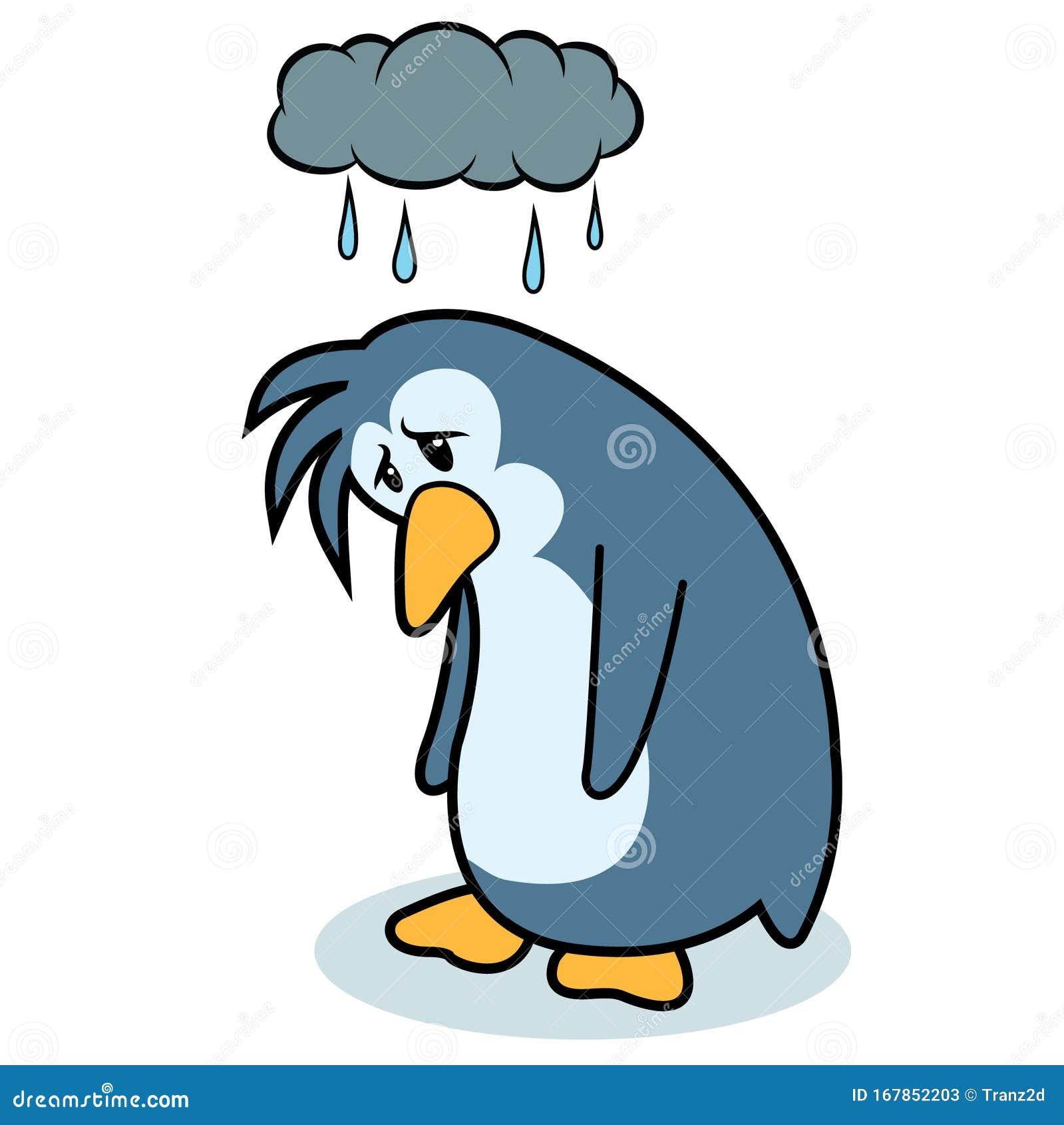 Very Sad Cartoon Penguin Stock Illustration Illustration Of Black 167852203