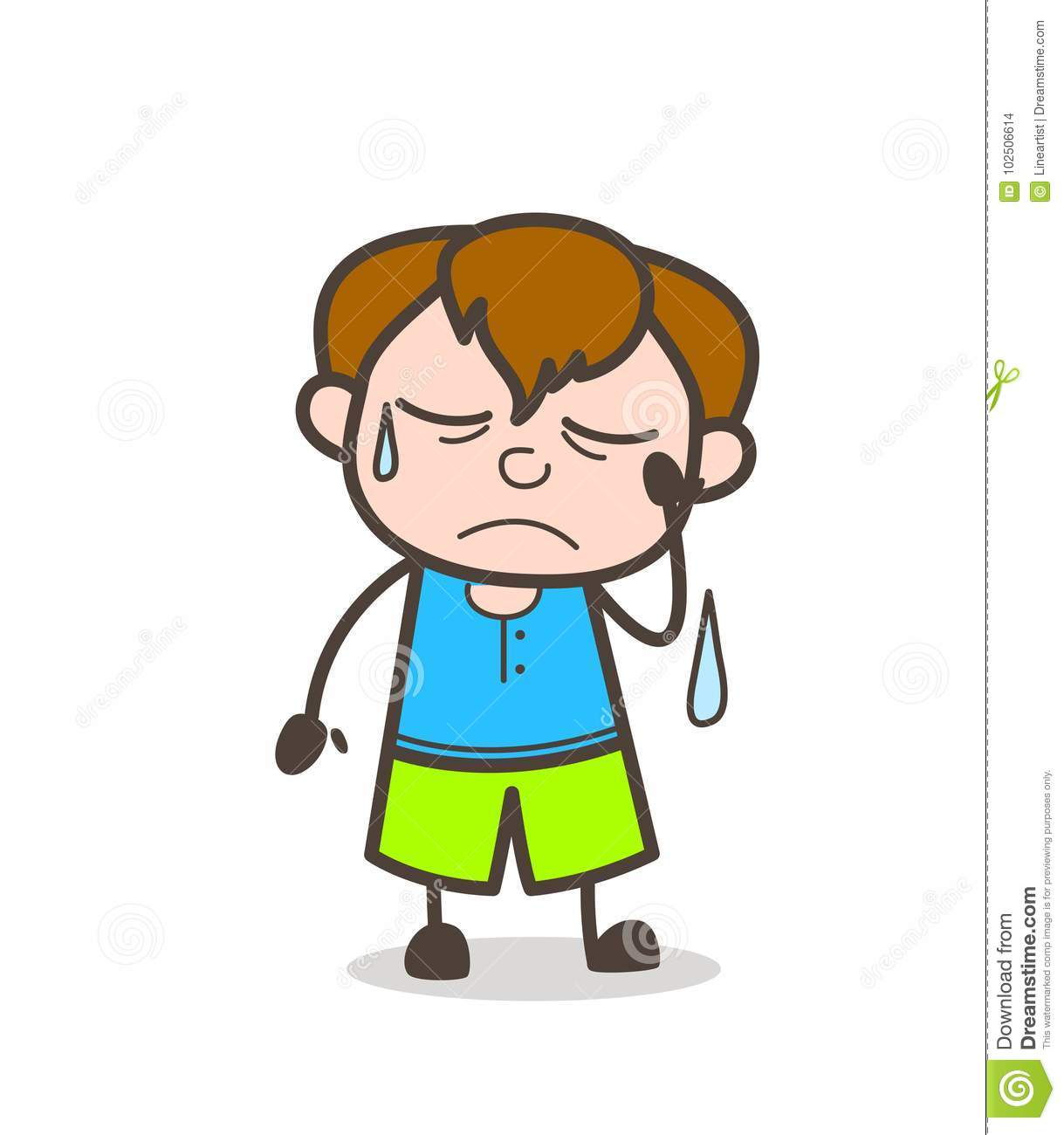 Very sad face with tears cute cartoon boy illustration