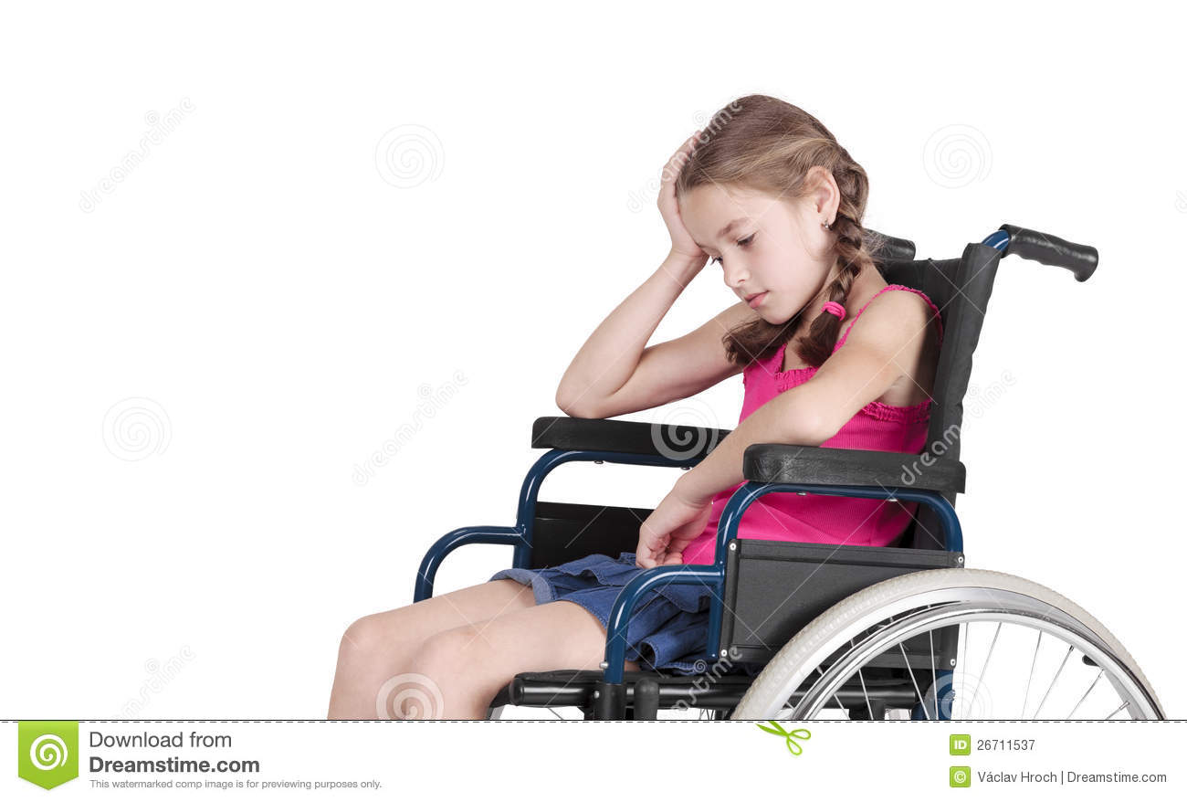 Very Sad Handicapped Girl In A Wheelchair Royalty Free