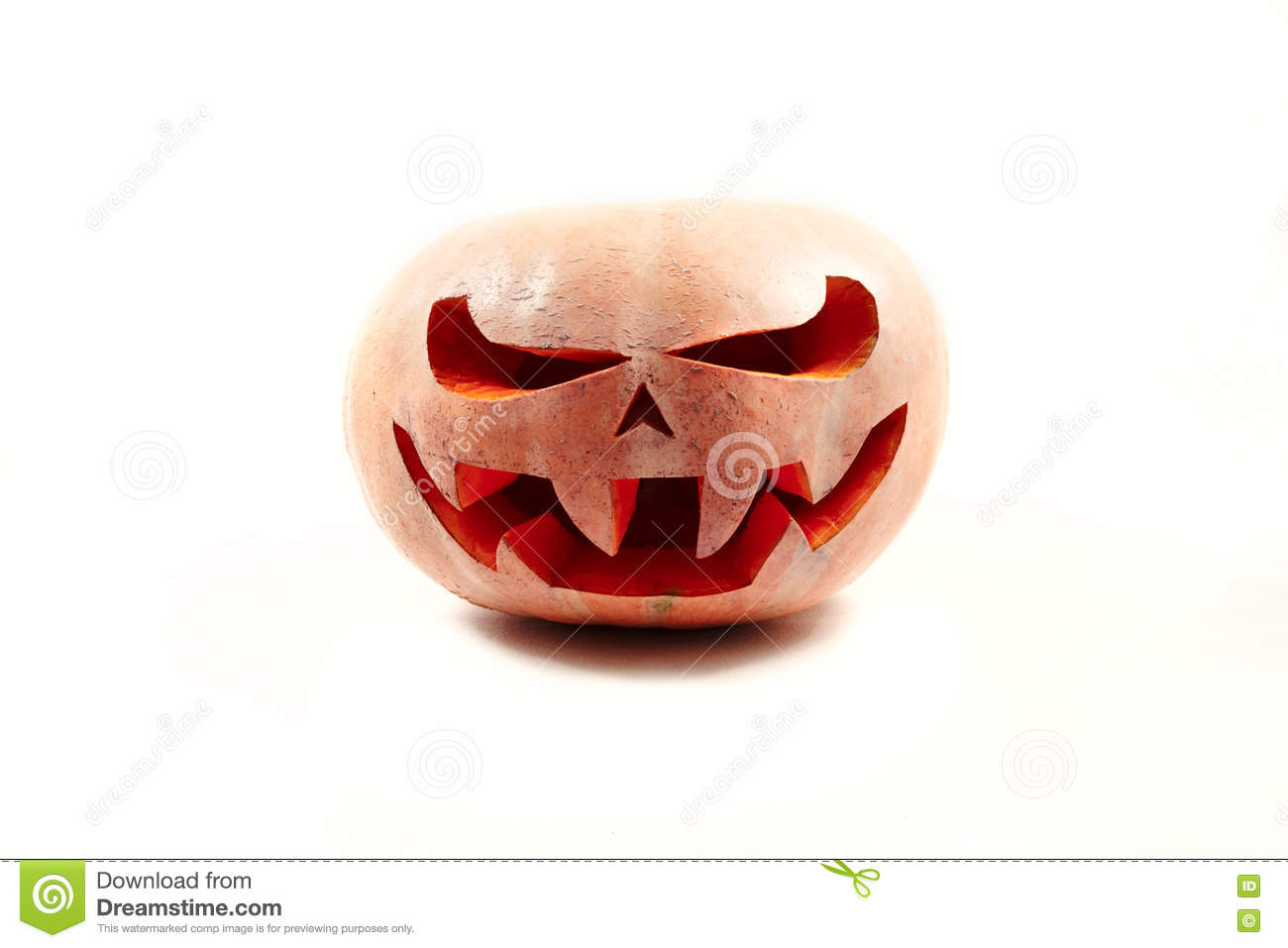 Very scary Halloween pumpkin on a white isolated background with