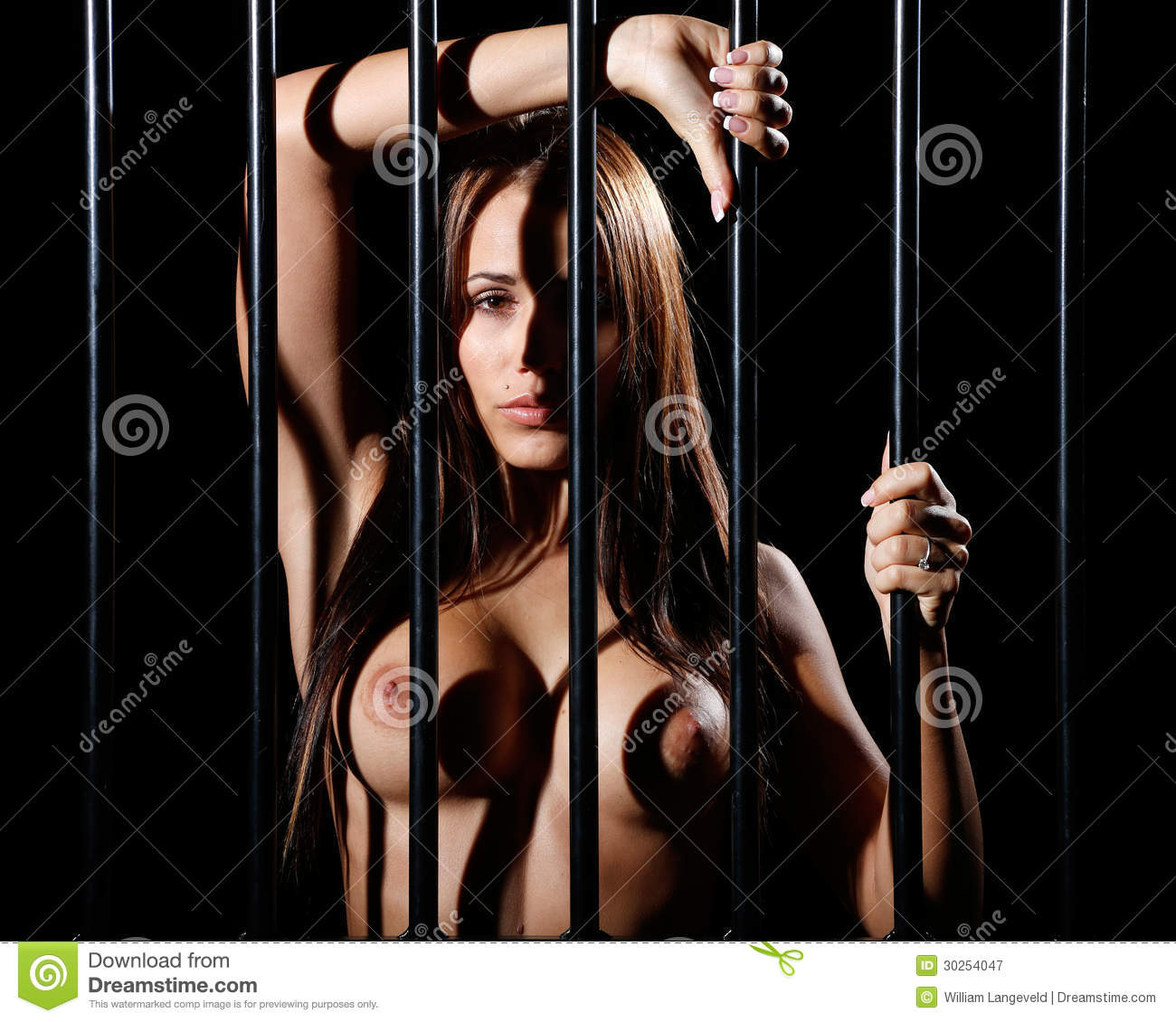 Very Sey And Beautiful Nude Or Naked Woman Locked Behind Black Prison