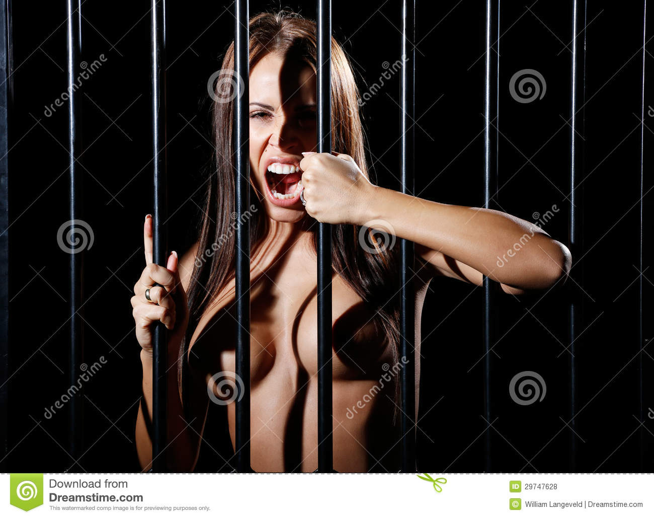 Beautiful Nude Or Naked Woman Behind Prison Bars Royalty -5622