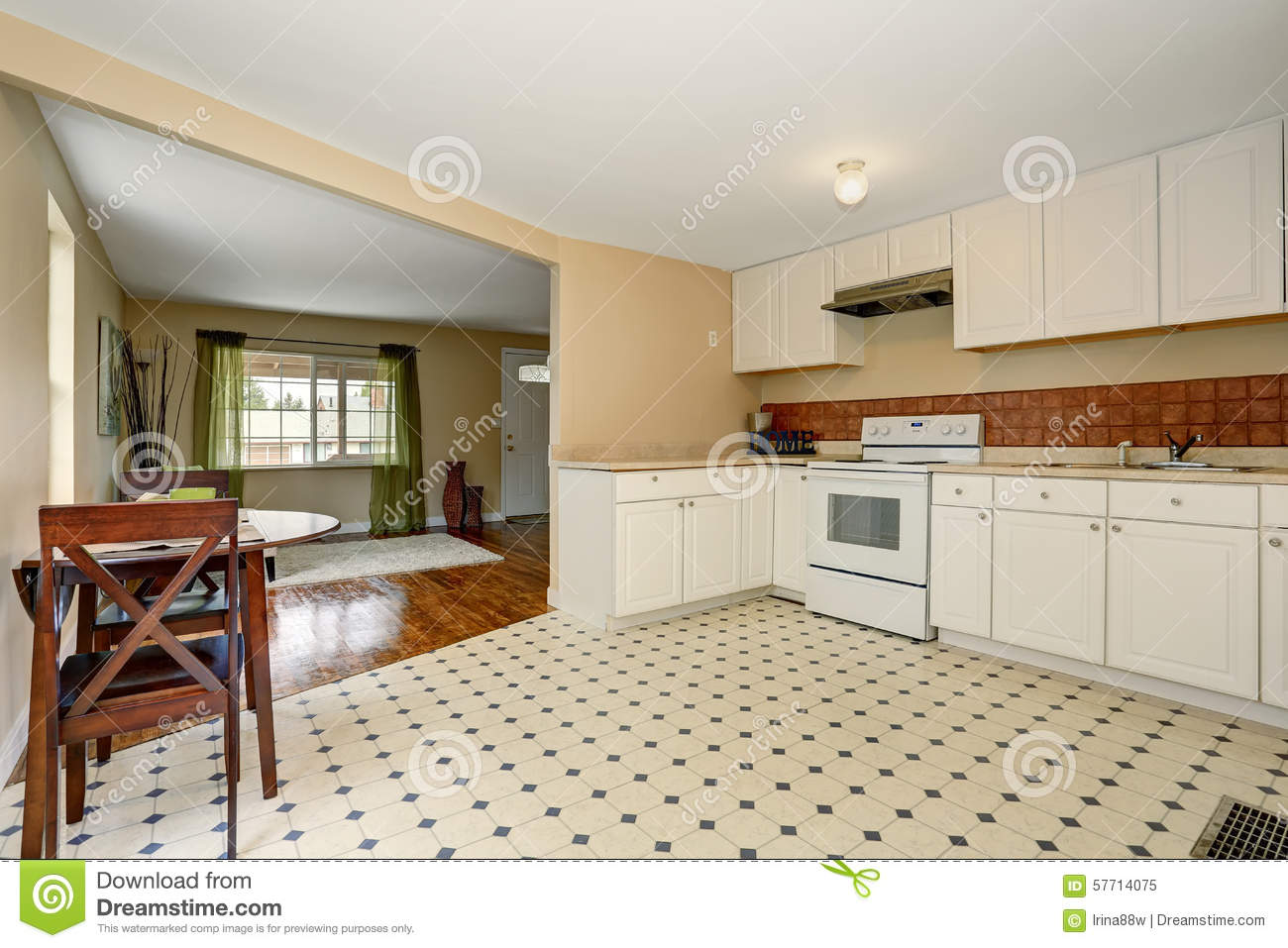 Very simple kitchen with tile floor stock photo image 57714075 - Simple kitchen tile ...