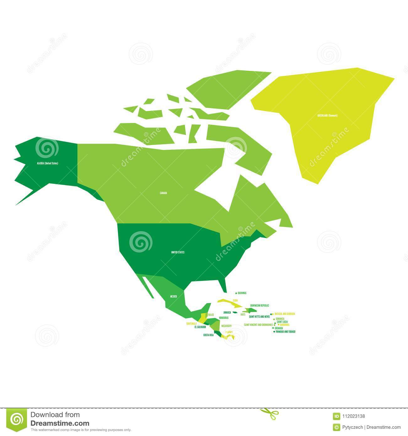 Very simplified infographical political map of north america in download very simplified infographical political map of north america in green colors simple geometric vector publicscrutiny Images