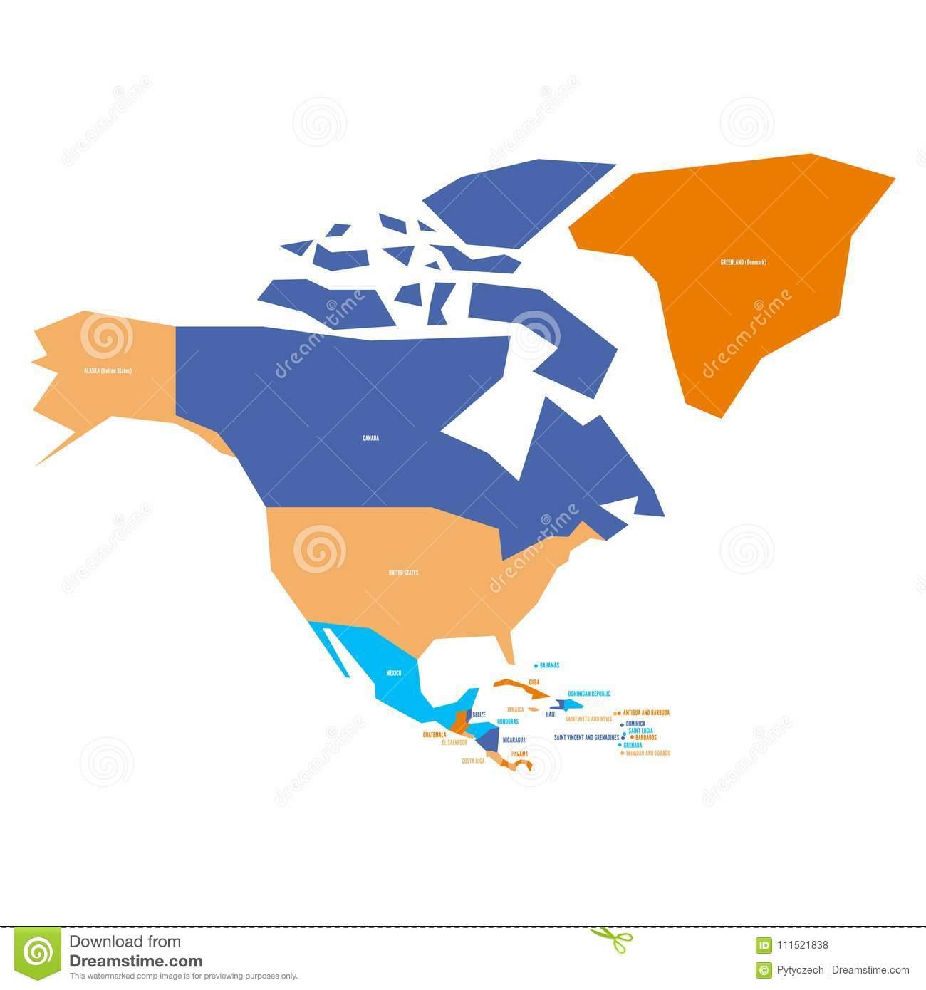 Very Simplified Infographical Political Map Of North America Simple