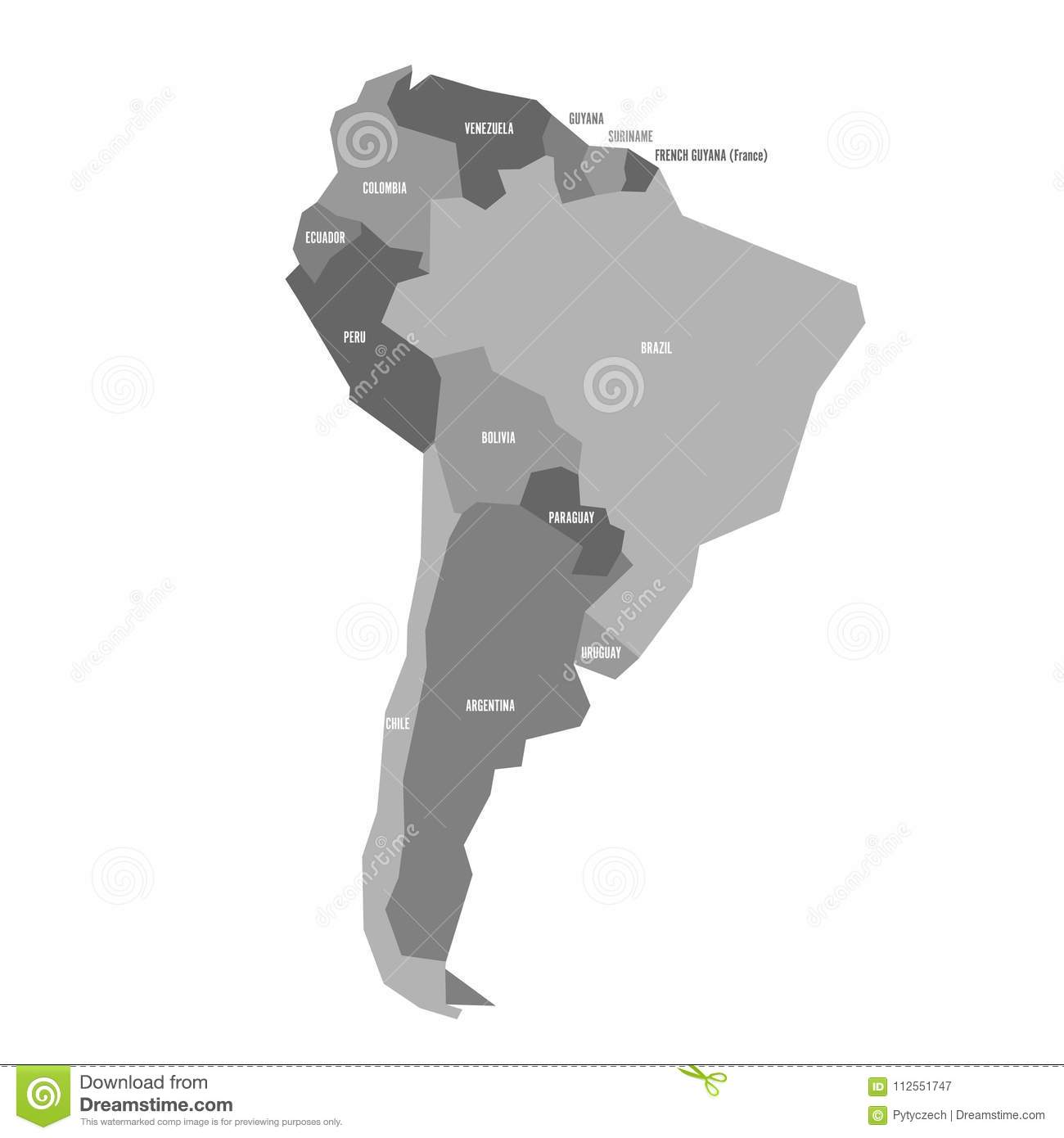 Very Simplified Infographical Political Map Of South America In Grey ...