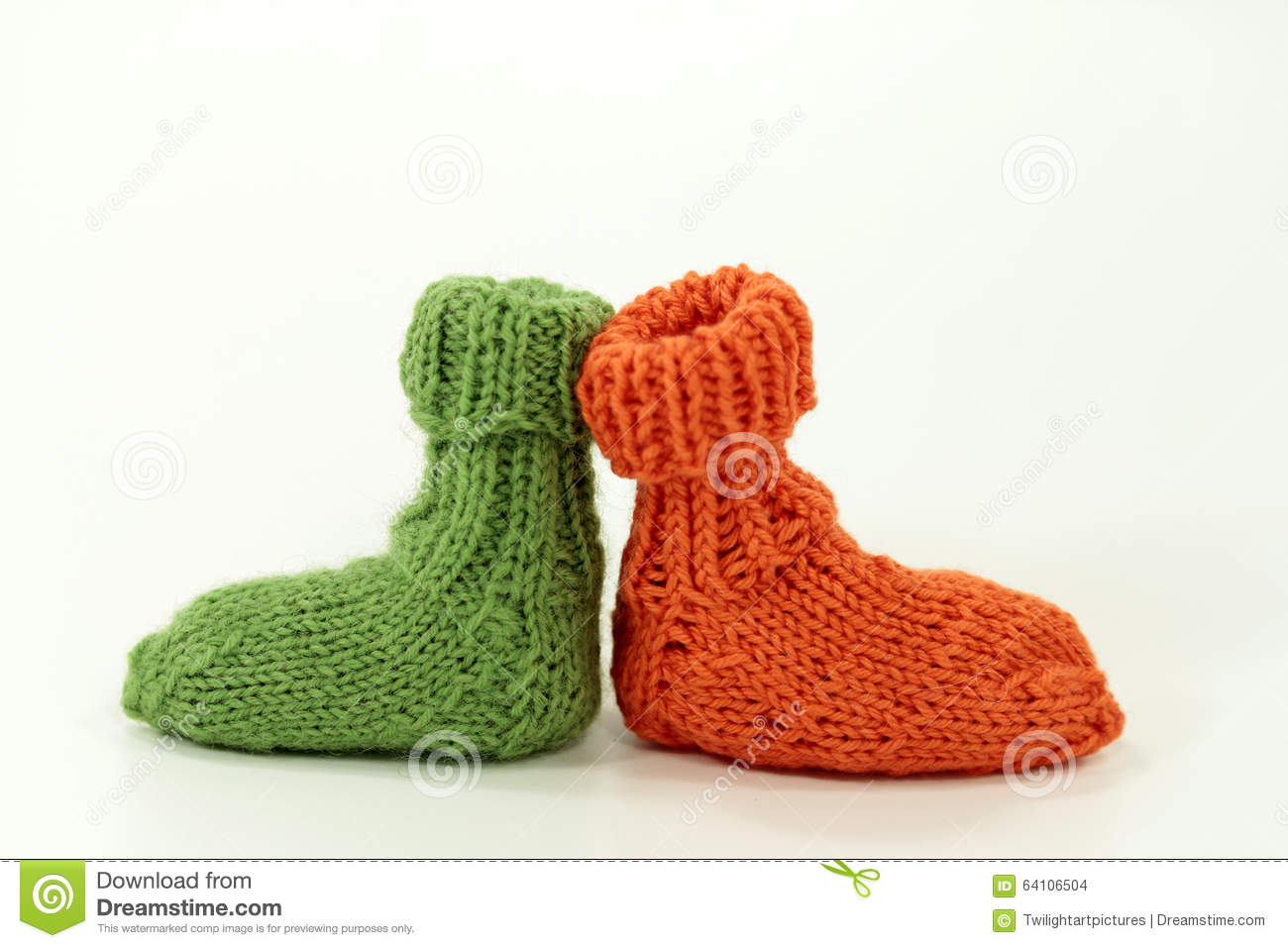 Knitting Pattern For Small Socks : Very Small, Handmade Knitted Sock For Dolls Or Babys Stock Photo - Image: 641...