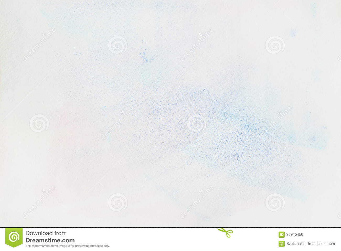 Very soft hand-drawn tender blue watercolor stain on white of water-color paper, paper grain texture. Abstract image for