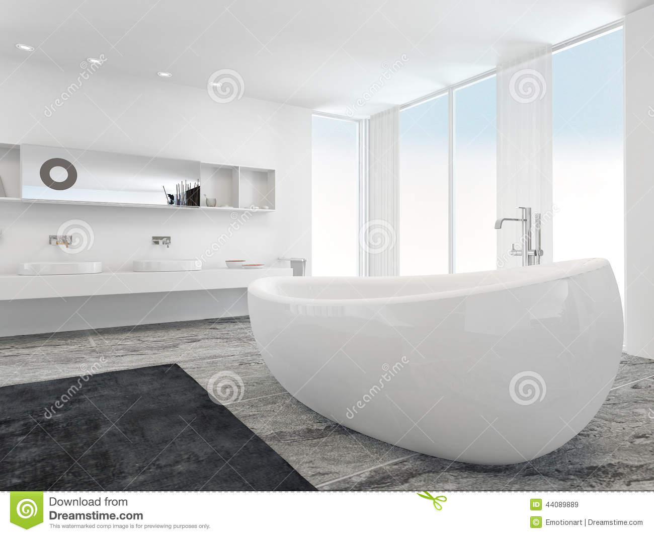 Very spacious bright modern bathroom with bathtub stock for Salle de bain avec baignoire playmobil
