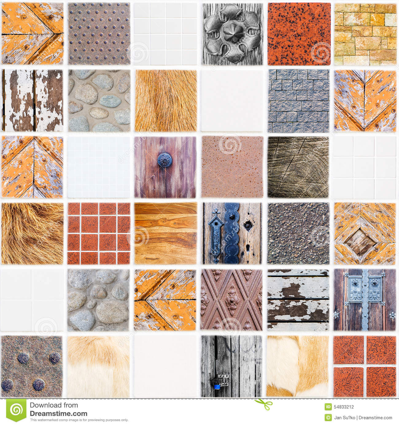 Very Special White Ceramic Tile Made Of Different Themes Stock Photo